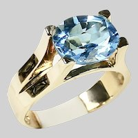 Solid 14K yellow gold ring with 4K blue topaz size 6