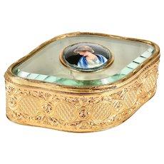 Antique French trinket or jewelry Box gilded bronze ormolu porcelain miniature