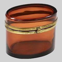 Antique Bohemian Amber art glass trinket or jewelry Box