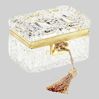 Antique France Baccarat clear crystal trinket or jewelry Casket