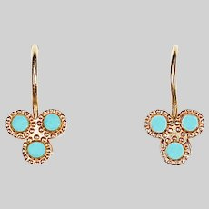 Russian 14K solid rose gold Earrings with turquoise beads