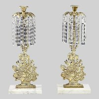 Antique pair Girandole Candle holders gild brass with crystals prisms