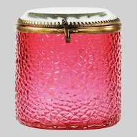 Antique French cranberry glass Trinket or Jewelry Box