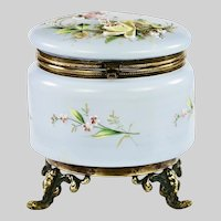 Large Antique Victorian era Trinket Box opaline glass
