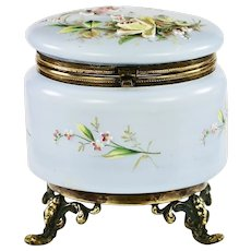 Large Antique Victorian era Trinket Box opaline glass