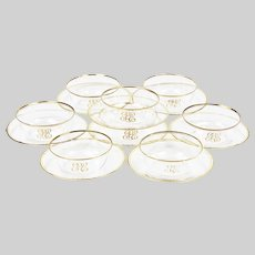 Set of 8 fine clear crystal finger Bowls and under Plates