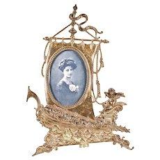 Antique Victorian Viking Ship brass Frame