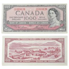 Canadian $1000 Dollar Bank Note AK1319126 Circulated 1954