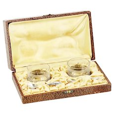 French Open Salt cellars in Silver plated holders and spoons