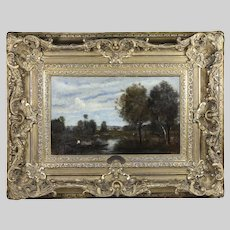 French Camille Corot 1796-1875 Antique oil canvas Landscape Painting