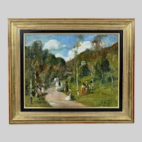 Hungarian Gyula Rudnay (1878-1957) antique oil c/board Park Scene painting