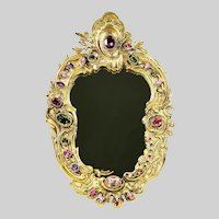 Antique European made gilded and jewelled vanity desk Mirror