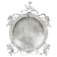French desk silver plate picture Frame with cherubim and crowned dog