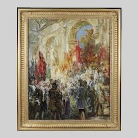 Hungarian Rezso Rakssanyi (1879-1950) A Royal Ceremony oil on canvas signed