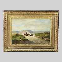 Antique Italian oil on board painting by A.Luzzi signed dated