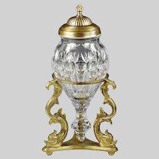 French Baccarat clear crystal Urn Vase on gilt bronze Dolphins base