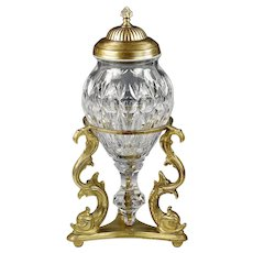 French Baccarat clear crystal Urn Vase on gilt bronze Dolphins base