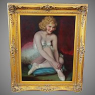 Hungarian American Artist Fried Pal signed O/C Painting of Ballet Dancer