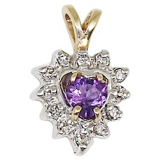 14K yellow and white solid gold Pendant set with Amethyst and diamond