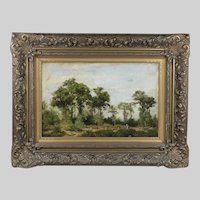 Antique 19th century French oil wood Landscape Painting signed Corot