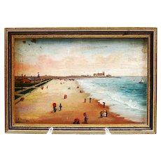 Antique Italian Pasquale Ruggiero (1851-1916) oil panel painting Promenade