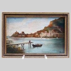 Antique Italian Pasquale Ruggiero (1851-1916) oil panel painting Coastal Scene