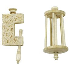 Bovine bone Table Clamp and Bird Cage Reel Thread Winder Sewing Tools