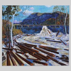 Vintage 1971 oil on canvas Painting after Tom Thomson (1877-1917) group of seven