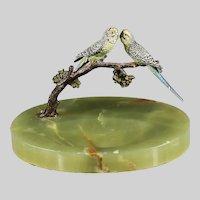 Austrian cold painted bronze Parakeet bird figurine green Onyx dish