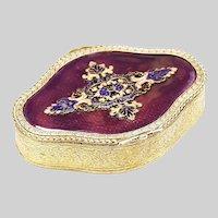 Antique French gilded bronze Jewelry Box purple enamel lid w/ cloisonné ornament