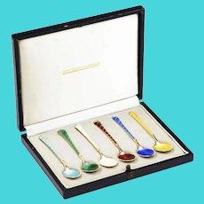 Set of 6 Vintage gold washed sterling silver Demitasse Spoons Denmark