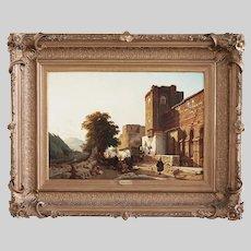 Francois Antoine Bousset Belgian 1789-1889 oil panel painting