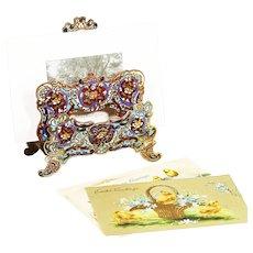 Antique French Desk Letter mail holder enamel bronze champleve cloisonné