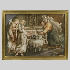 Antique 19thC acrylic Painting Maidens & Man give water to Goats & Rams