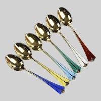 Set of 6 Vintage David Andersen Norway Sterling Enamel Demitasse Spoons