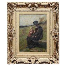Scottish Robert McGregor RSA 1847–1922 oil / canvas painting Grandfathers Child