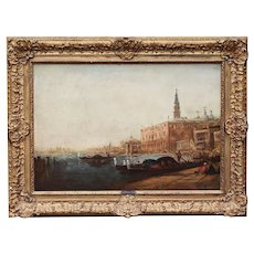 French Félix Ziem 1821–1911 Grand Canal in Venice oil on board painting