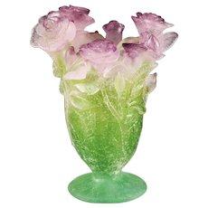 "Daum France Crystal Pate De Verre 7"" Pink Roses Vase"