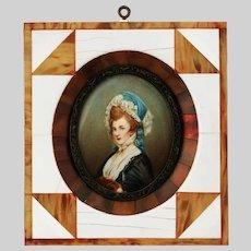 Antique miniature watercolour painting portrait of Ms Robinson