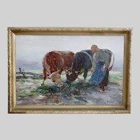 German Max Bergman (1884-1955) Vintage oil on board painting