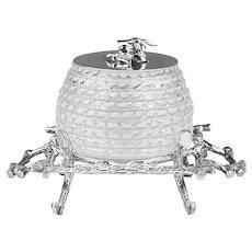 Vintage glass Honey Pot or Jam preserve Jar with silver plate Lid & Stand
