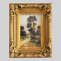 Antique 1900' Europian oil canvas romantic painting unsigned