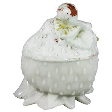 Antique French Vallerysthal Opaline milk glass Snail on Strawberry Box