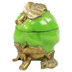 Antique French Vallerysthal Opaline milk glass Green Apple Box lidded sugar Bowl