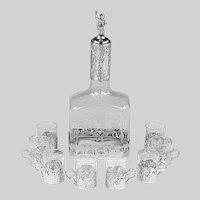 Set Antique German Glass Decanter Bottle & 8 glasses Hanau 800 Silver mounts