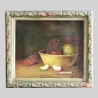 Antique Canadian oil on canvas Painting Still Life old style fruits on table