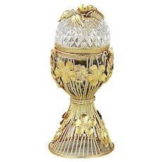 Antique clear glass Trinket Box hinged lid gold ormolu mounts