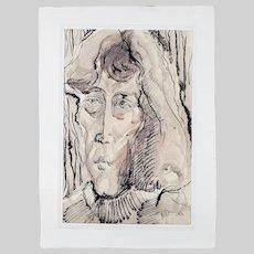 Vintage 1980 Watercolour ink mix painting portrait of woman surrealism signed