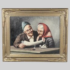 Antique oil canvas painting signed Genre scene of domestic life