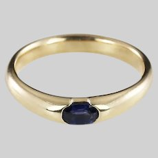 Fine 14K solid yellow gold Ring channel set with Sapphire